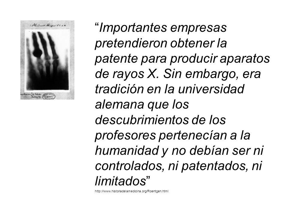 Importantes empresas pretendieron obtener la patente para producir aparatos de rayos X.