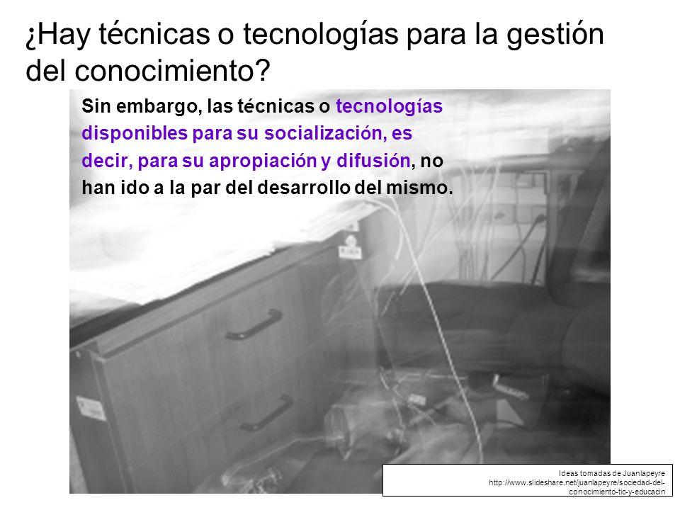 ¿ Hay t é cnicas o tecnolog í as para la gesti ó n del conocimiento.