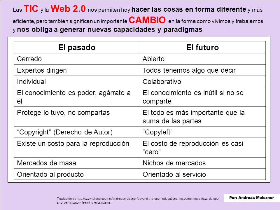 Las TIC y la Web 2.0 nos permiten hoy hacer las cosas en forma diferente y más eficiente, pero también significan un importante CAMBIO en la forma como vivimos y trabajamos y nos obliga a generar nuevas capacidades y paradigmas.