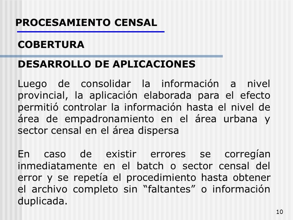 10 PROCESAMIENTO CENSAL COBERTURA DESARROLLO DE APLICACIONES Luego de consolidar la información a nivel provincial, la aplicación elaborada para el ef