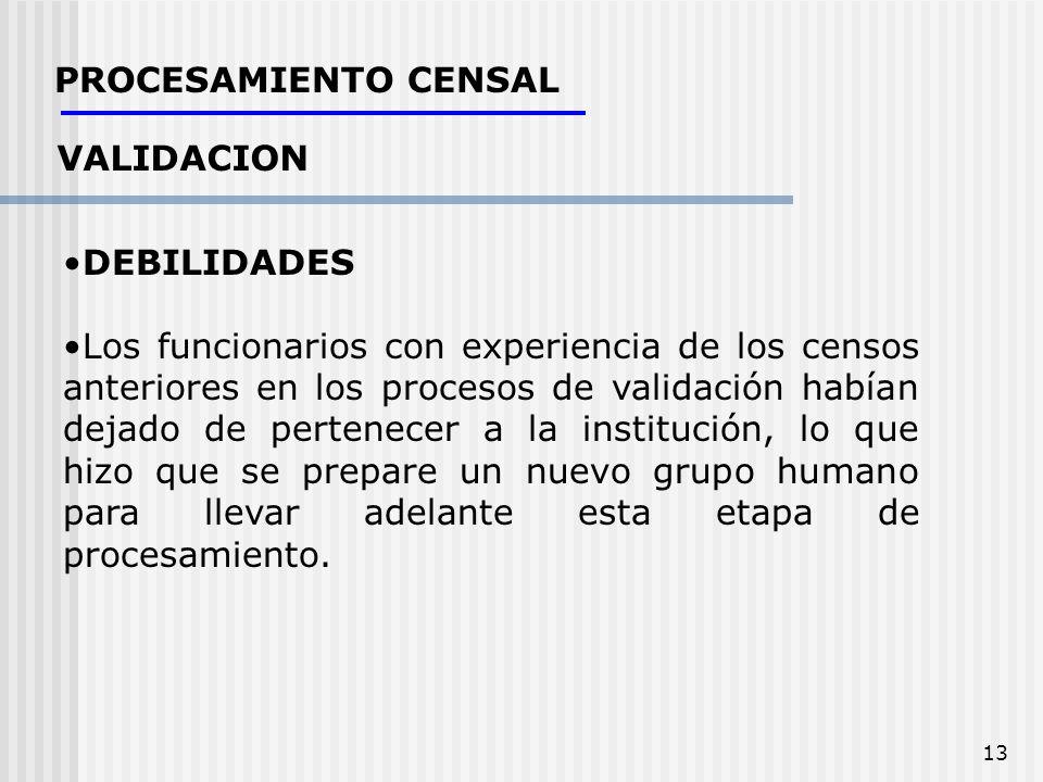 13 PROCESAMIENTO CENSAL VALIDACION DEBILIDADES Los funcionarios con experiencia de los censos anteriores en los procesos de validación habían dejado d