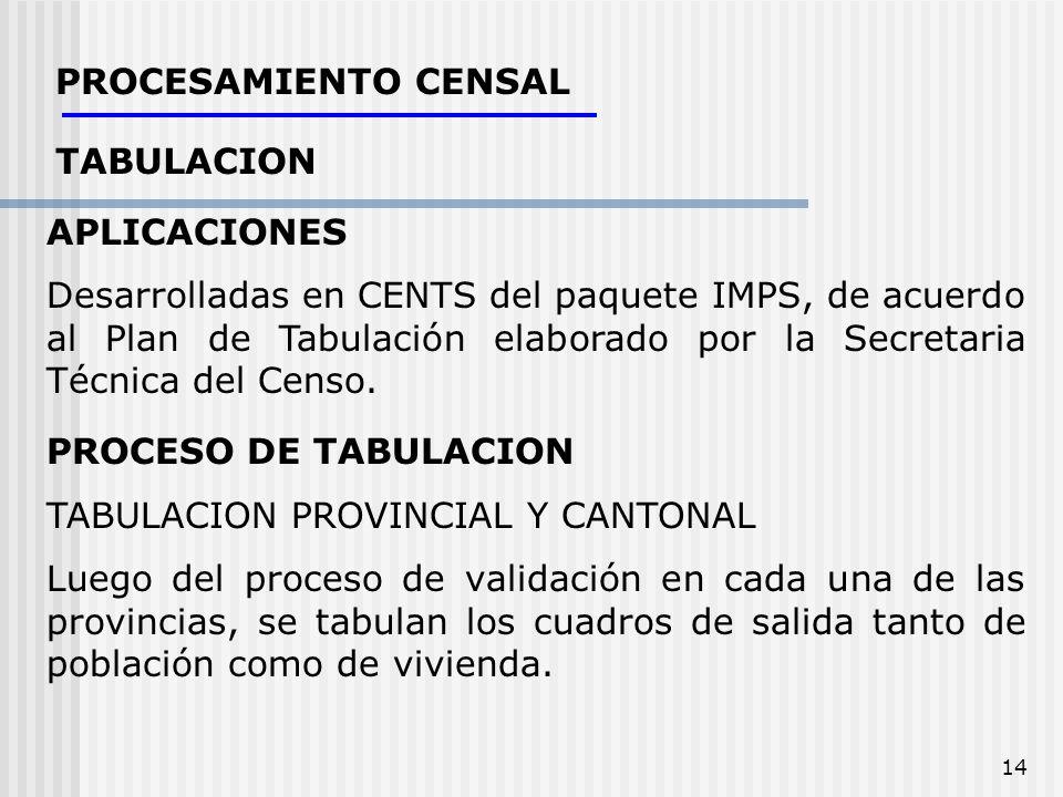 14 PROCESAMIENTO CENSAL TABULACION APLICACIONES Desarrolladas en CENTS del paquete IMPS, de acuerdo al Plan de Tabulación elaborado por la Secretaria