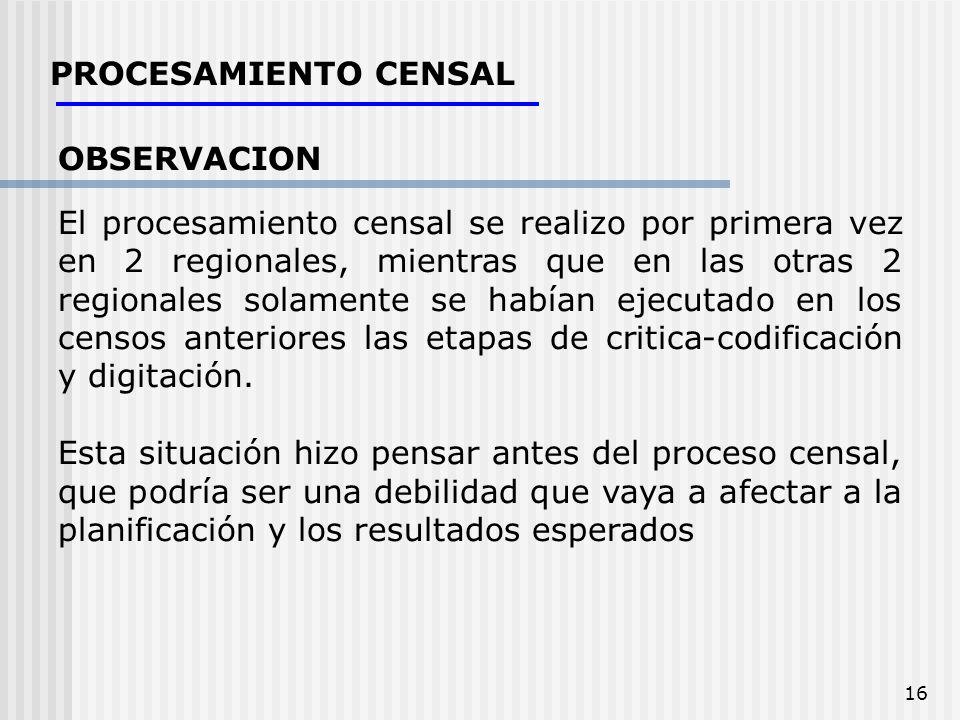 16 PROCESAMIENTO CENSAL OBSERVACION El procesamiento censal se realizo por primera vez en 2 regionales, mientras que en las otras 2 regionales solamen