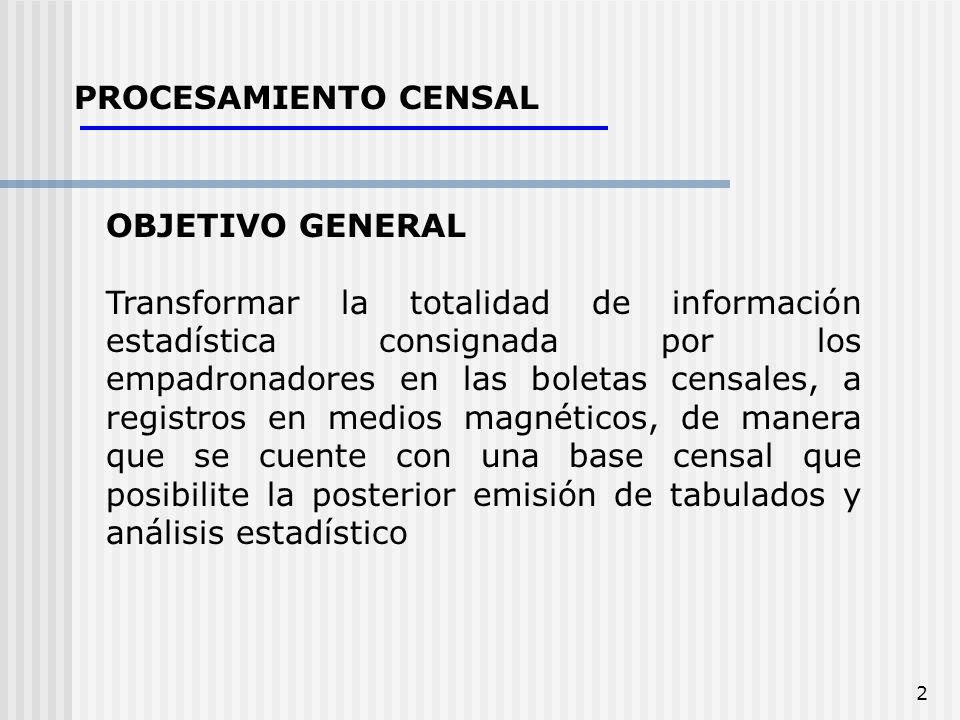 2 PROCESAMIENTO CENSAL OBJETIVO GENERAL Transformar la totalidad de información estadística consignada por los empadronadores en las boletas censales,