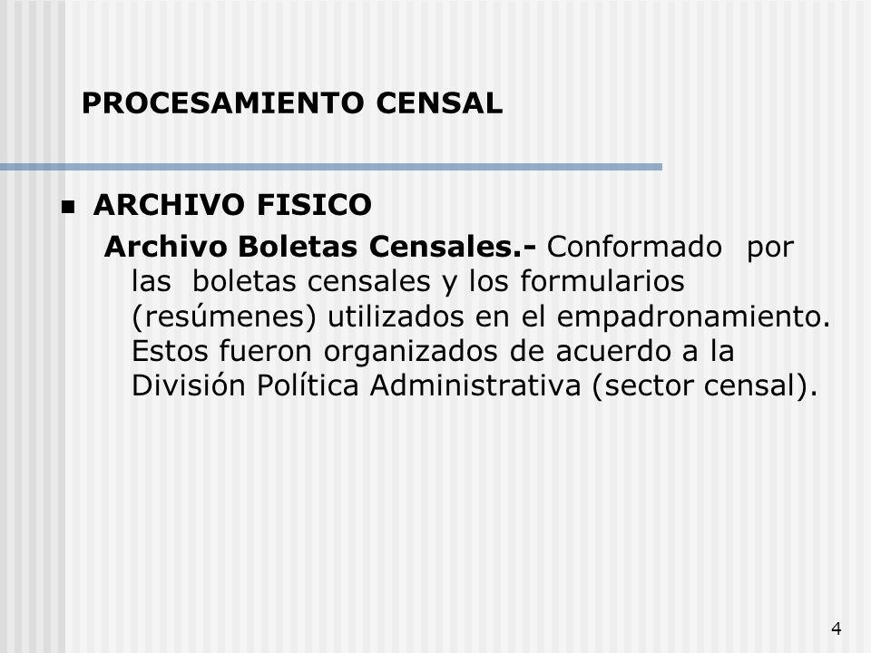 4 ARCHIVO FISICO Archivo Boletas Censales.- Conformado por las boletas censales y los formularios (resúmenes) utilizados en el empadronamiento. Estos
