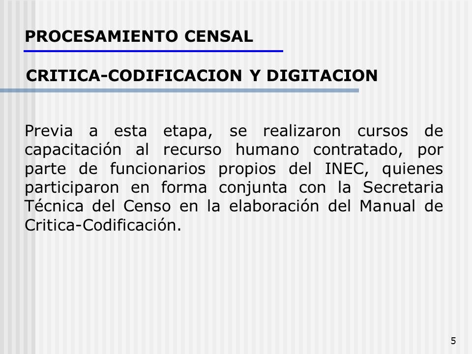 5 CRITICA-CODIFICACION Y DIGITACION Previa a esta etapa, se realizaron cursos de capacitación al recurso humano contratado, por parte de funcionarios