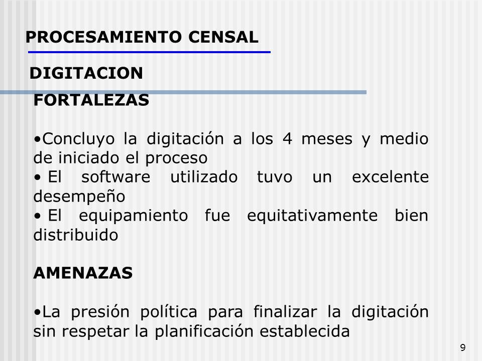 9 PROCESAMIENTO CENSAL DIGITACION FORTALEZAS Concluyo la digitación a los 4 meses y medio de iniciado el proceso El software utilizado tuvo un excelen