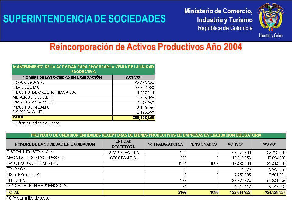 Ministerio de Comercio, Industria y Turismo República de Colombia SUPERINTENDENCIA DE SOCIEDADES Reincorporación de Activos Productivos Año 2004