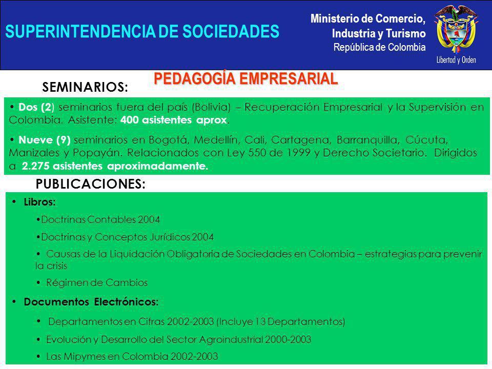 Ministerio de Comercio, Industria y Turismo República de Colombia SUPERINTENDENCIA DE SOCIEDADES PEDAGOGÍA EMPRESARIAL Dos (2 ) seminarios fuera del país (Bolivia) – Recuperación Empresarial y la Supervisión en Colombia.