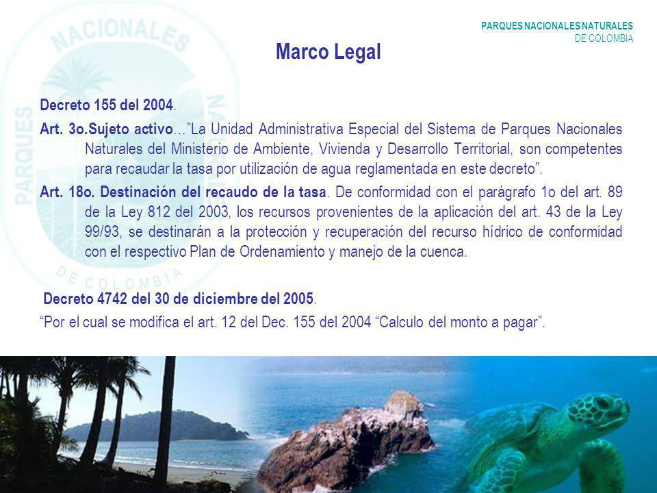PARQUES NACIONALES NATURALES DE COLOMBIA Marco Legal Decreto 155 del 2004.
