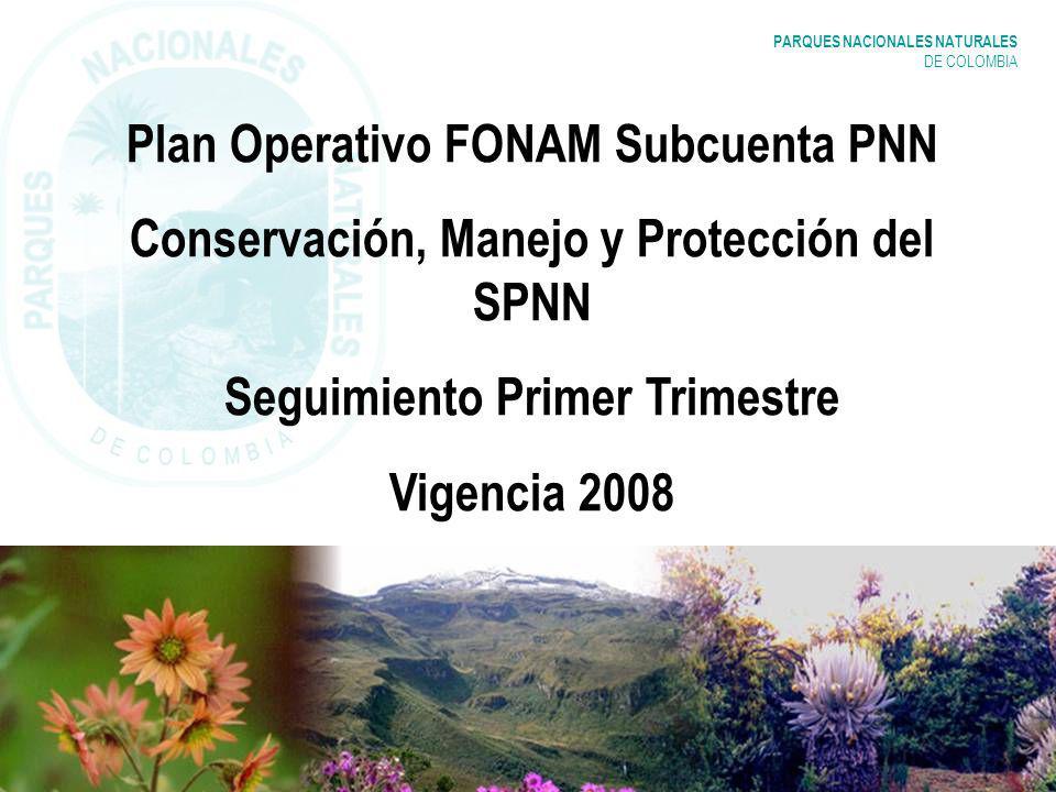 PARQUES NACIONALES NATURALES DE COLOMBIA Plan Operativo FONAM Subcuenta PNN Conservación, Manejo y Protección del SPNN Seguimiento Primer Trimestre Vi