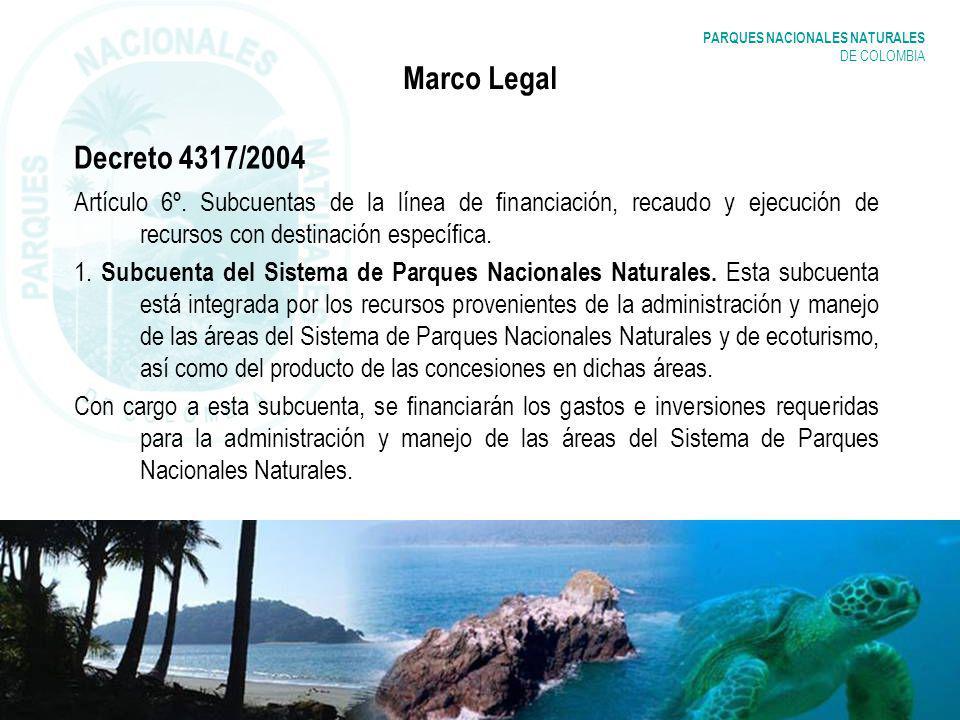 PARQUES NACIONALES NATURALES DE COLOMBIA Marco Legal Decreto 4317/2004 Artículo 6º. Subcuentas de la línea de financiación, recaudo y ejecución de rec