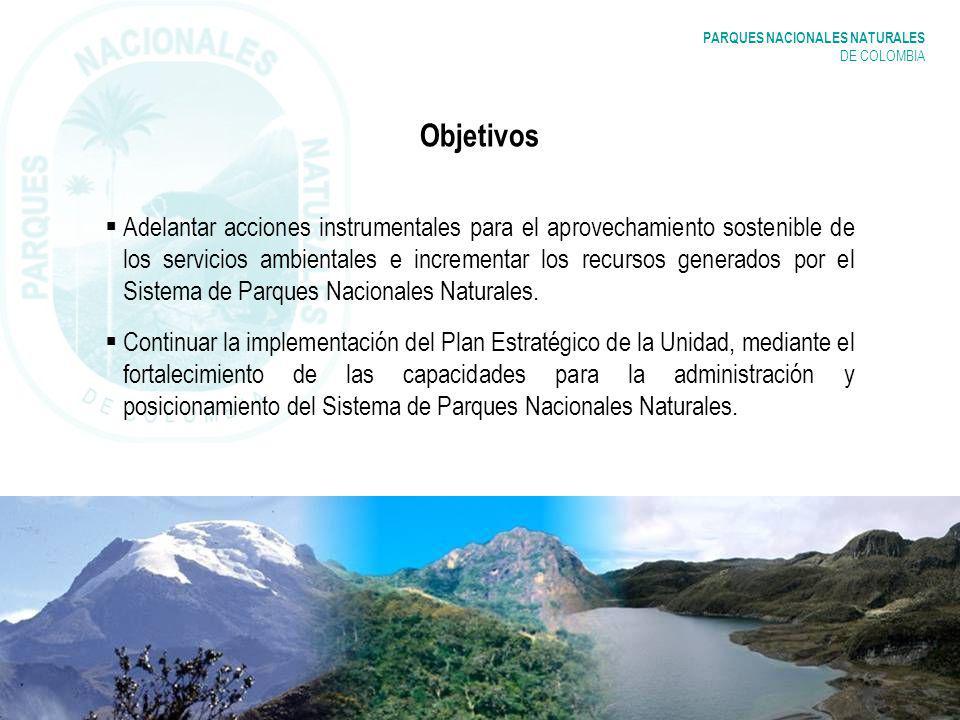 PARQUES NACIONALES NATURALES DE COLOMBIA Objetivos Adelantar acciones instrumentales para el aprovechamiento sostenible de los servicios ambientales e