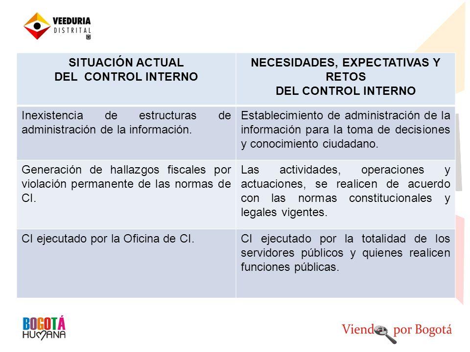 SITUACIÓN ACTUAL DEL CONTROL INTERNO NECESIDADES, EXPECTATIVAS Y RETOS DEL CONTROL INTERNO Inexistencia de estructuras de administración de la información.