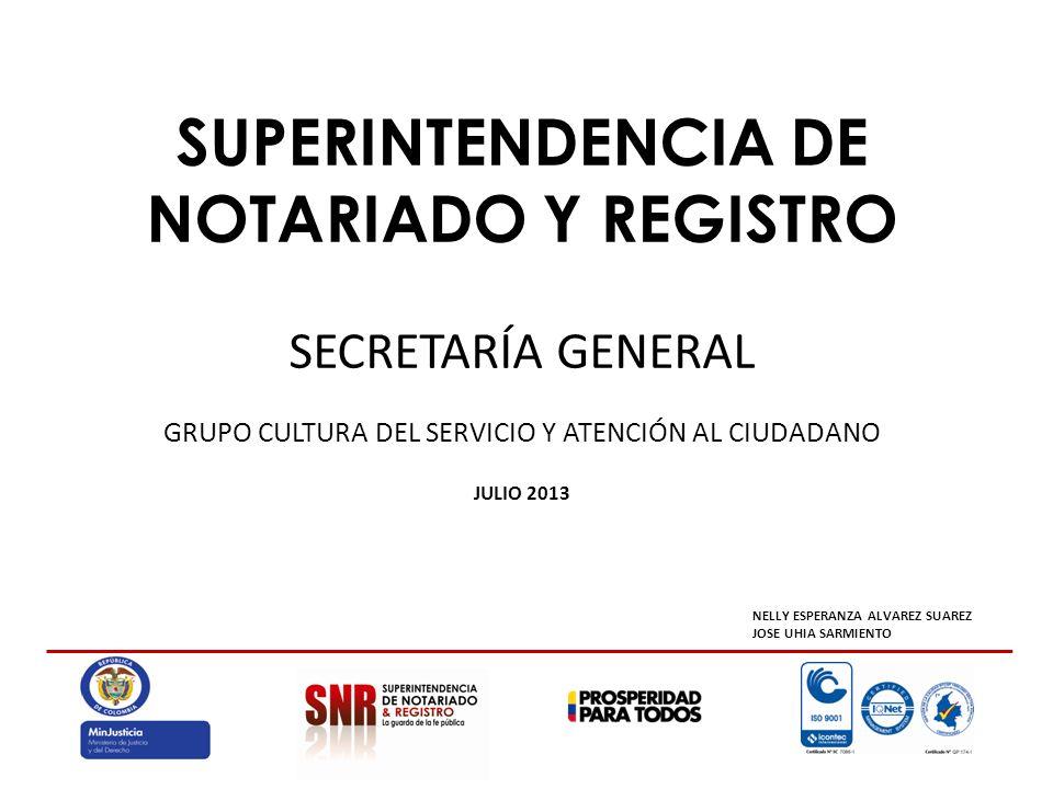 SUPERINTENDENCIA DE NOTARIADO Y REGISTRO SECRETARÍA GENERAL GRUPO CULTURA DEL SERVICIO Y ATENCIÓN AL CIUDADANO JULIO 2013 NELLY ESPERANZA ALVAREZ SUAREZ JOSE UHIA SARMIENTO