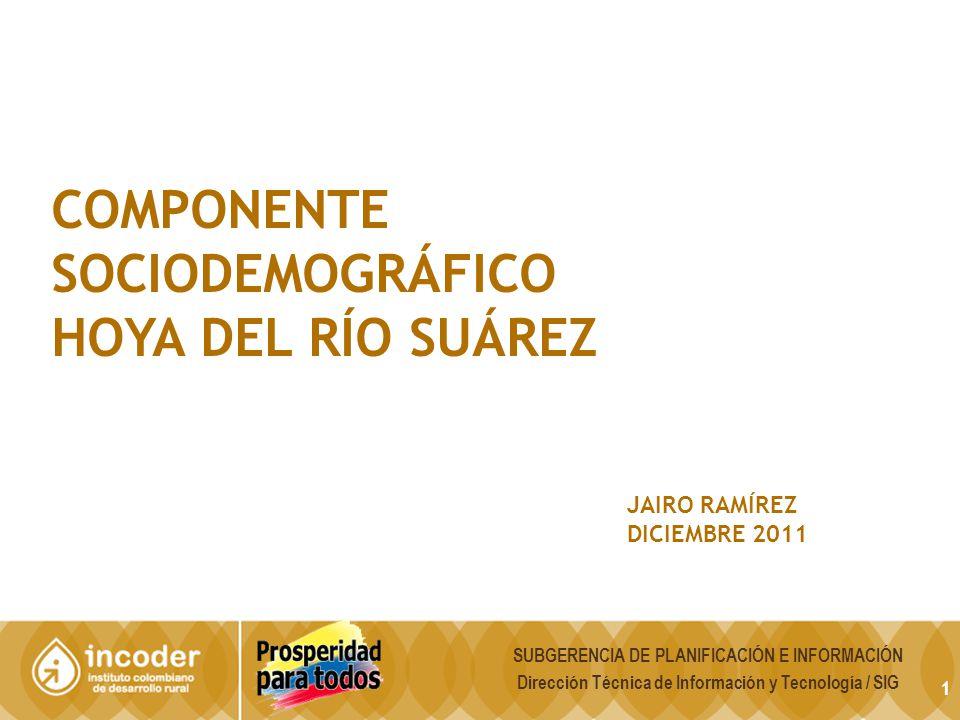 1 COMPONENTE SOCIODEMOGRÁFICO HOYA DEL RÍO SUÁREZ JAIRO RAMÍREZ DICIEMBRE 2011 SUBGERENCIA DE PLANIFICACIÓN E INFORMACIÓN Dirección Técnica de Informa