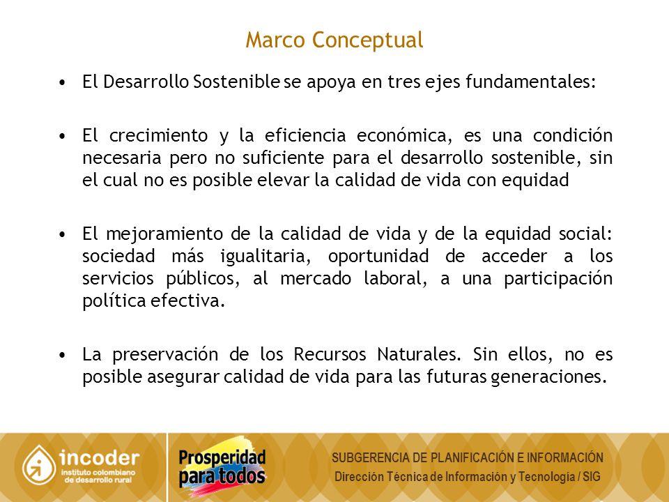 Marco Conceptual El Desarrollo Sostenible se apoya en tres ejes fundamentales: El crecimiento y la eficiencia económica, es una condición necesaria pe