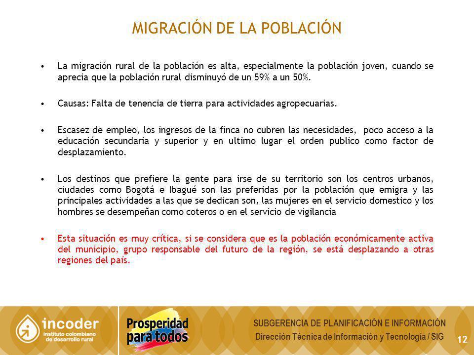 MIGRACIÓN DE LA POBLACIÓN 12 SUBGERENCIA DE PLANIFICACIÓN E INFORMACIÓN Dirección Técnica de Información y Tecnología / SIG La migración rural de la p