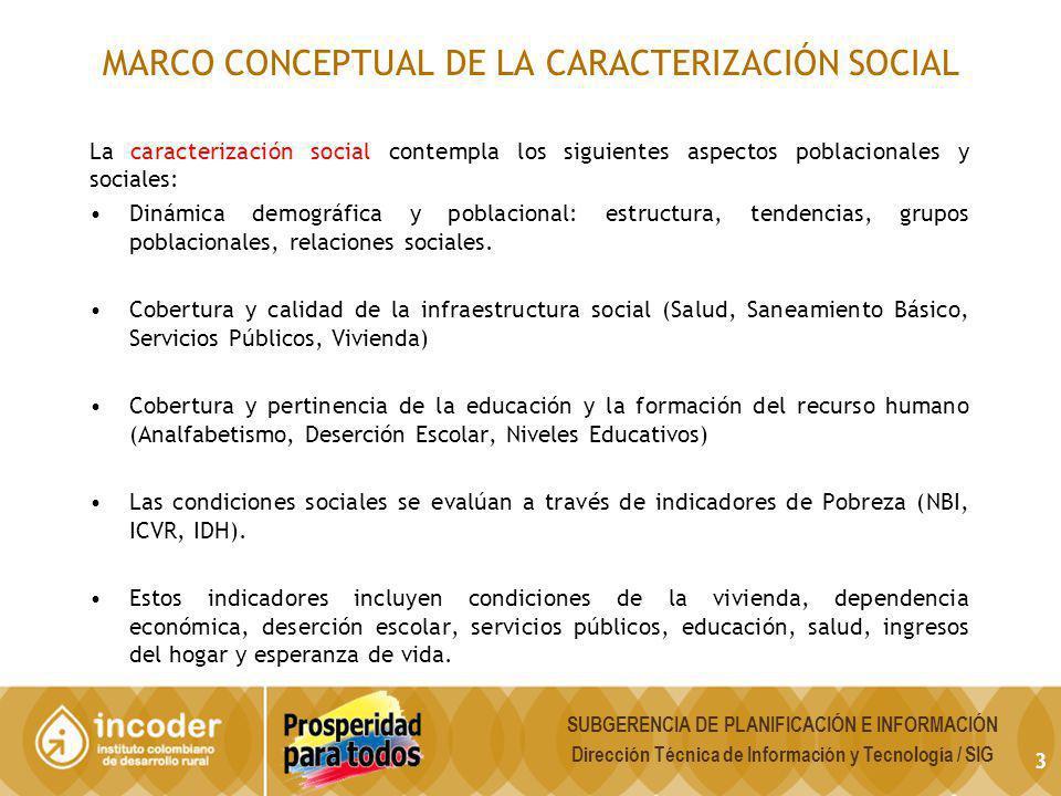 MARCO CONCEPTUAL DE LA CARACTERIZACIÓN SOCIAL La caracterización social contempla los siguientes aspectos poblacionales y sociales: Dinámica demográfi