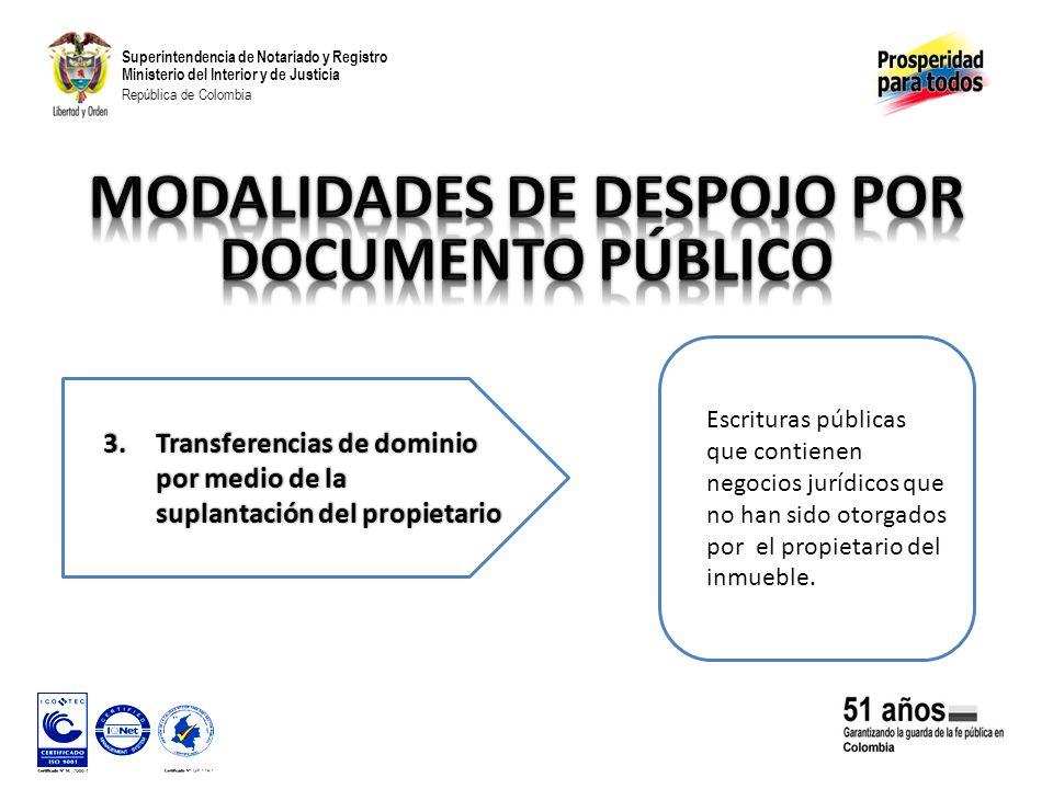 Superintendencia de Notariado y Registro Ministerio del Interior y de Justicia República de Colombia Escrituras públicas que contienen negocios jurídicos que no han sido otorgados por el propietario del inmueble.