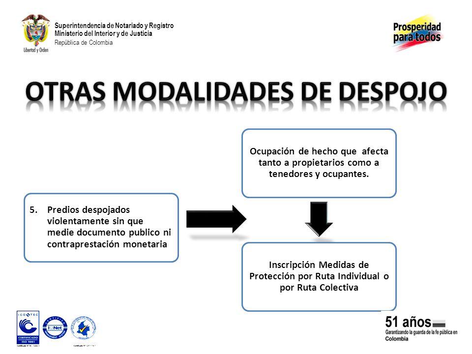 Superintendencia de Notariado y Registro Ministerio del Interior y de Justicia República de Colombia 5.Predios despojados violentamente sin que medie documento publico ni contraprestación monetaria Ocupación de hecho que afecta tanto a propietarios como a tenedores y ocupantes.