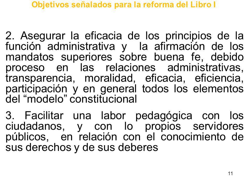 11 Objetivos señalados para la reforma del Libro I 2. Asegurar la eficacia de los principios de la función administrativa y la afirmación de los manda