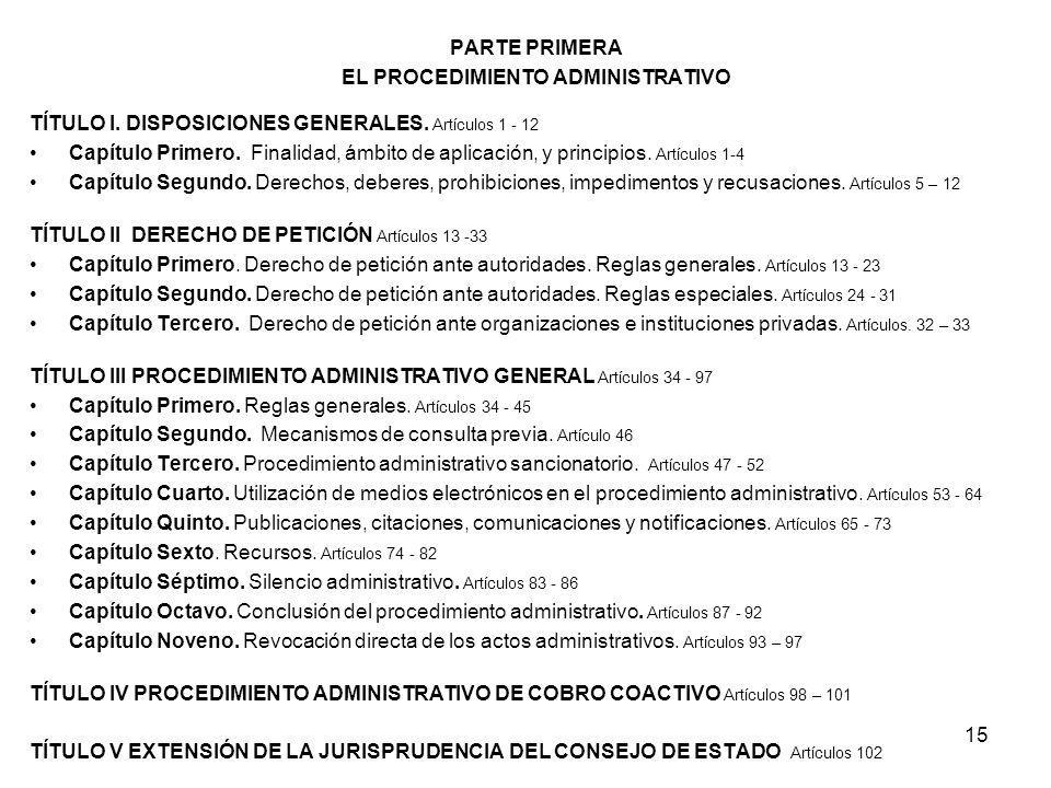 15 PARTE PRIMERA EL PROCEDIMIENTO ADMINISTRATIVO TÍTULO I. DISPOSICIONES GENERALES. Artículos 1 - 12 Capítulo Primero. Finalidad, ámbito de aplicación
