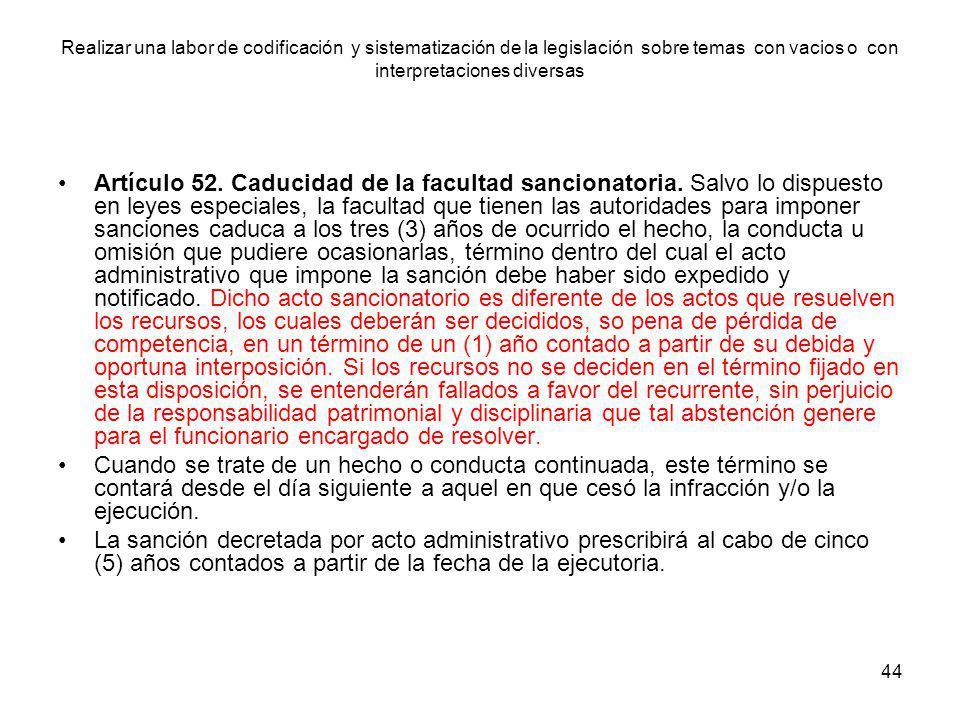 44 Artículo 52. Caducidad de la facultad sancionatoria. Salvo lo dispuesto en leyes especiales, la facultad que tienen las autoridades para imponer sa
