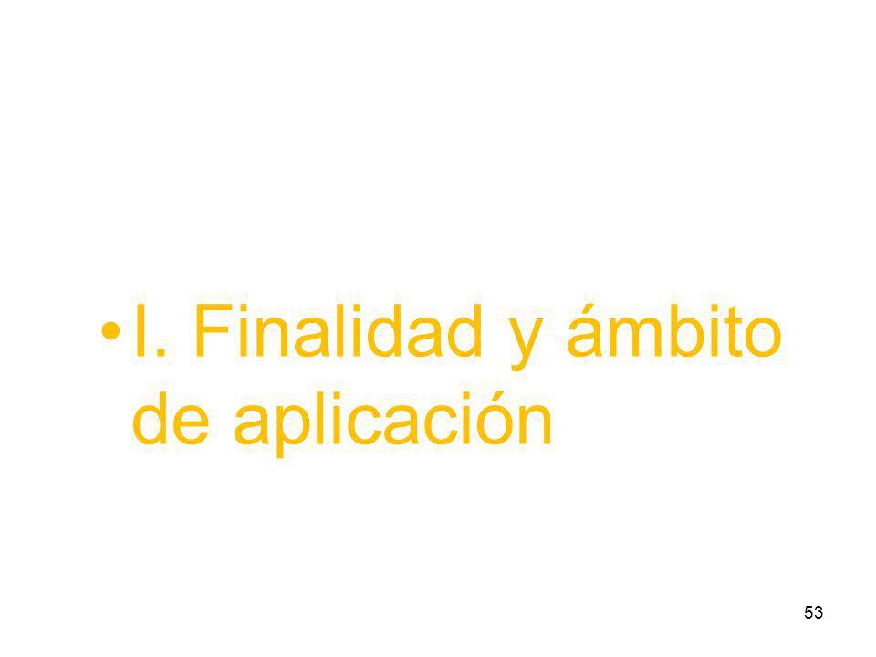 I. Finalidad y ámbito de aplicación 53