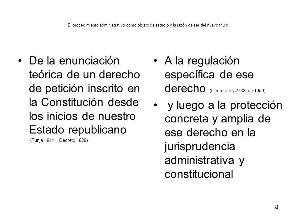 El procedimiento administrativo como objeto de estudio y la razón de ser del nuevo título De la enunciación teórica de un derecho de petición inscrito