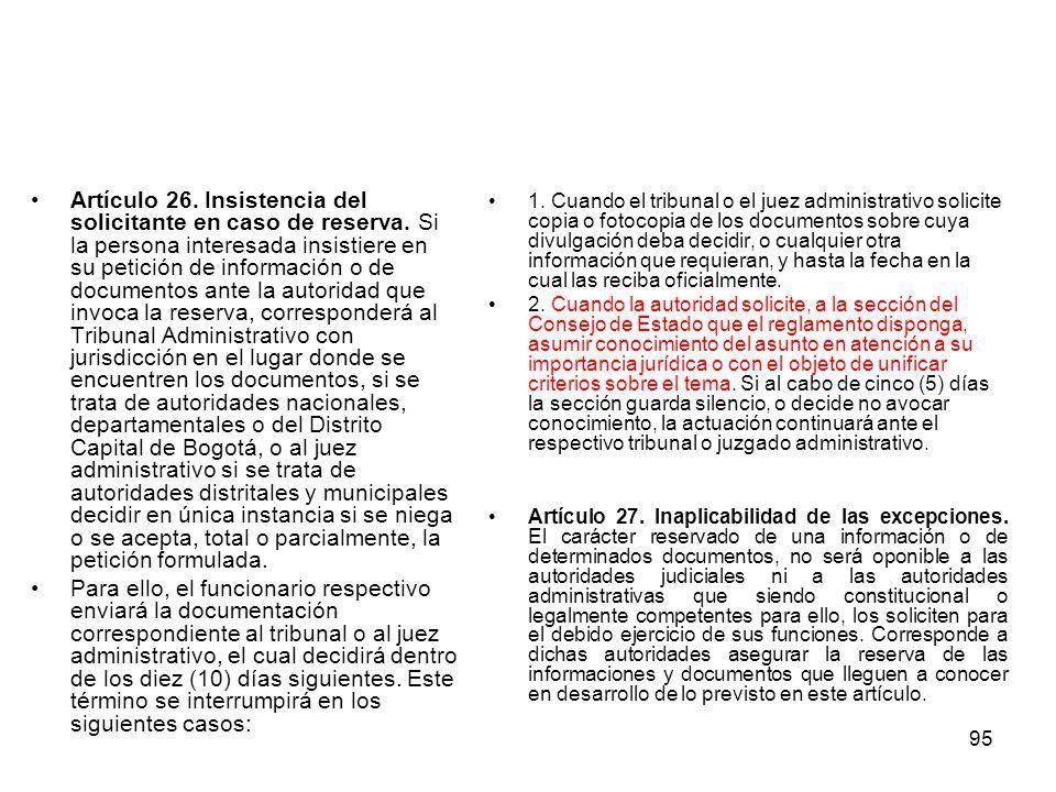 95 Artículo 26. Insistencia del solicitante en caso de reserva. Si la persona interesada insistiere en su petición de información o de documentos ante