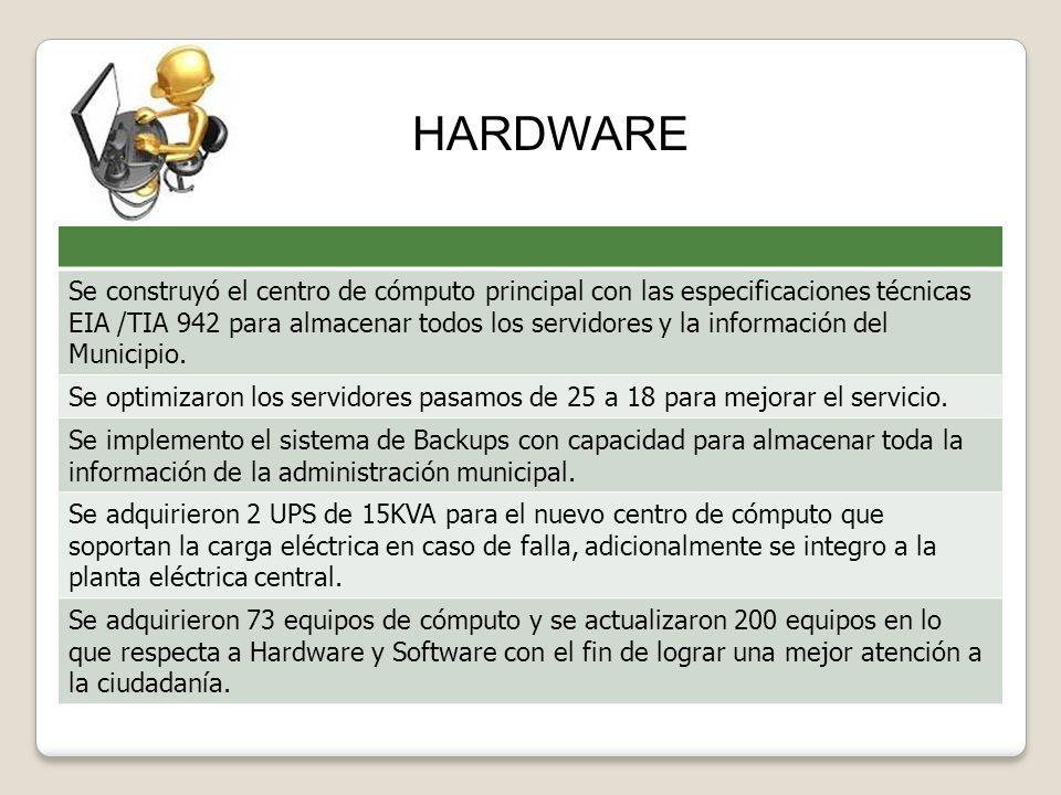 Se construyó el centro de cómputo principal con las especificaciones técnicas EIA /TIA 942 para almacenar todos los servidores y la información del Mu