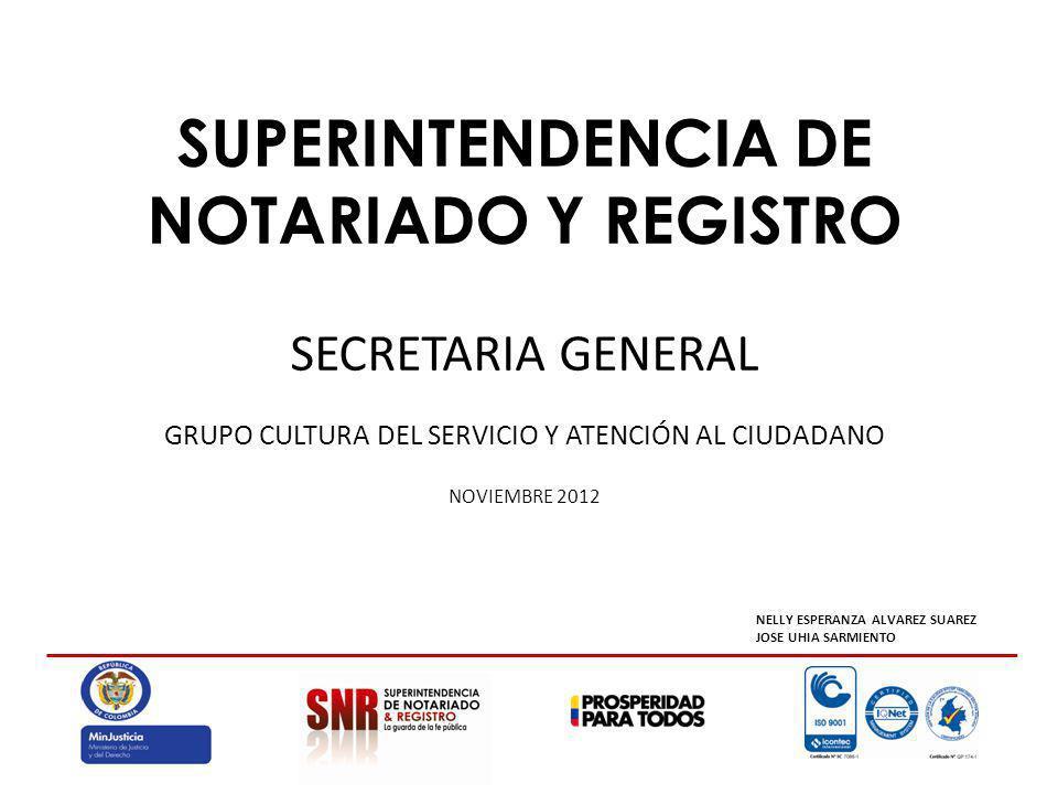 SUPERINTENDENCIA DE NOTARIADO Y REGISTRO SECRETARIA GENERAL GRUPO CULTURA DEL SERVICIO Y ATENCIÓN AL CIUDADANO NOVIEMBRE 2012 NELLY ESPERANZA ALVAREZ SUAREZ JOSE UHIA SARMIENTO
