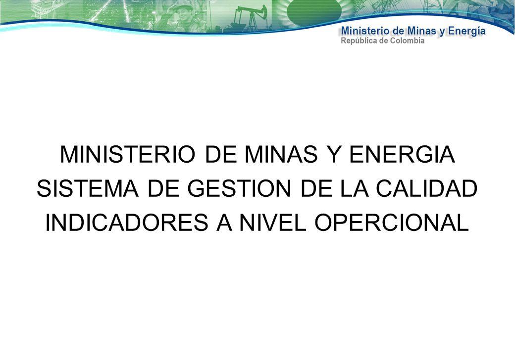 MINISTERIO DE MINAS Y ENERGIA SISTEMA DE GESTION DE LA CALIDAD INDICADORES A NIVEL OPERCIONAL