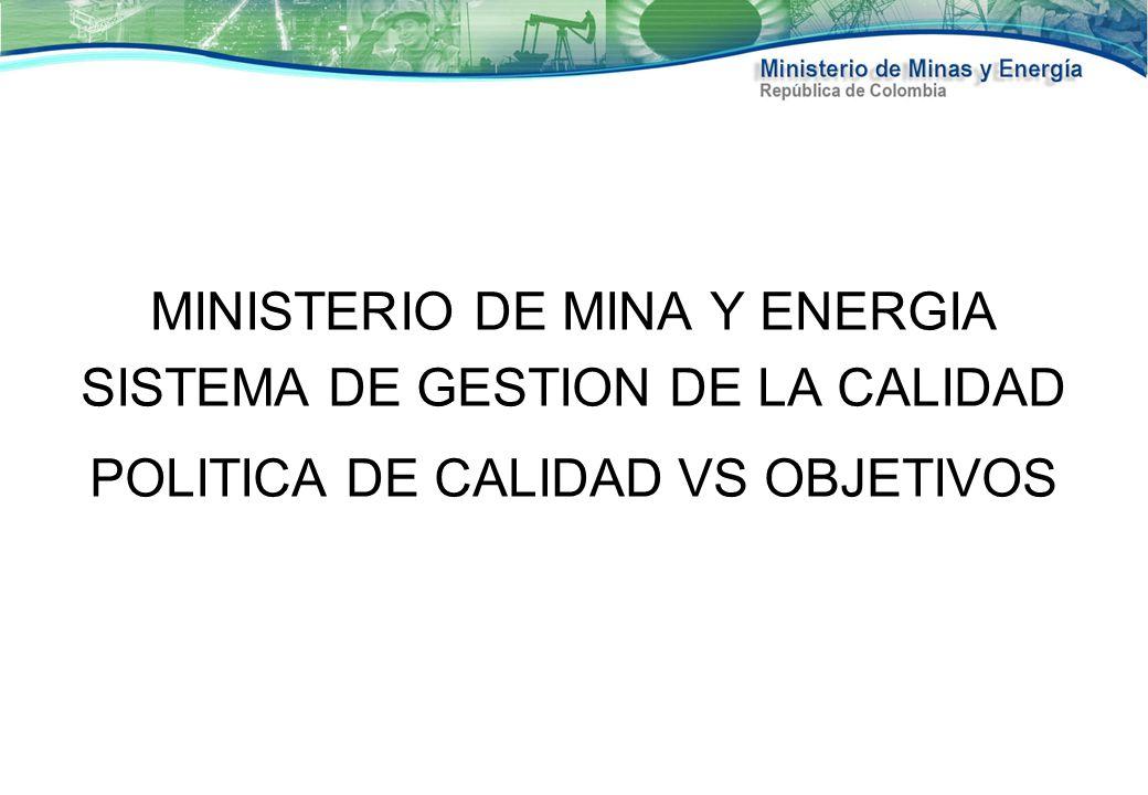 MINISTERIO DE MINA Y ENERGIA SISTEMA DE GESTION DE LA CALIDAD POLITICA DE CALIDAD VS OBJETIVOS