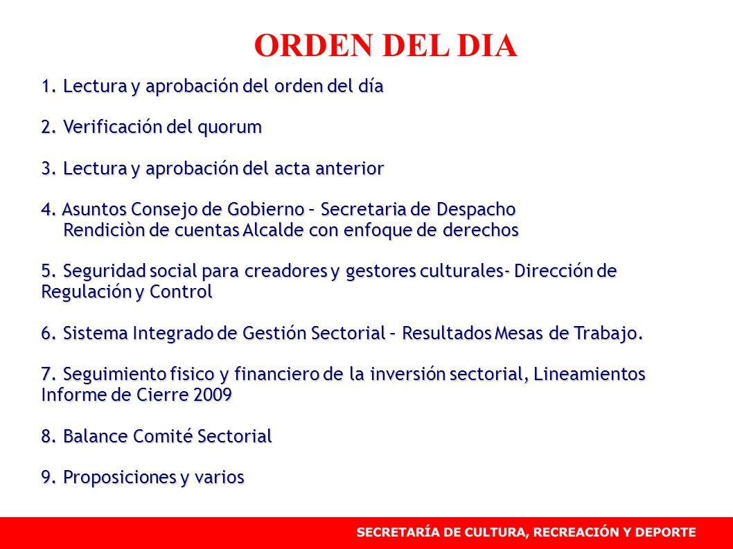 ORDEN DEL DIA 1. Lectura y aprobación del orden del día 2. Verificación del quorum 3. Lectura y aprobación del acta anterior 4. Asuntos Consejo de Gob
