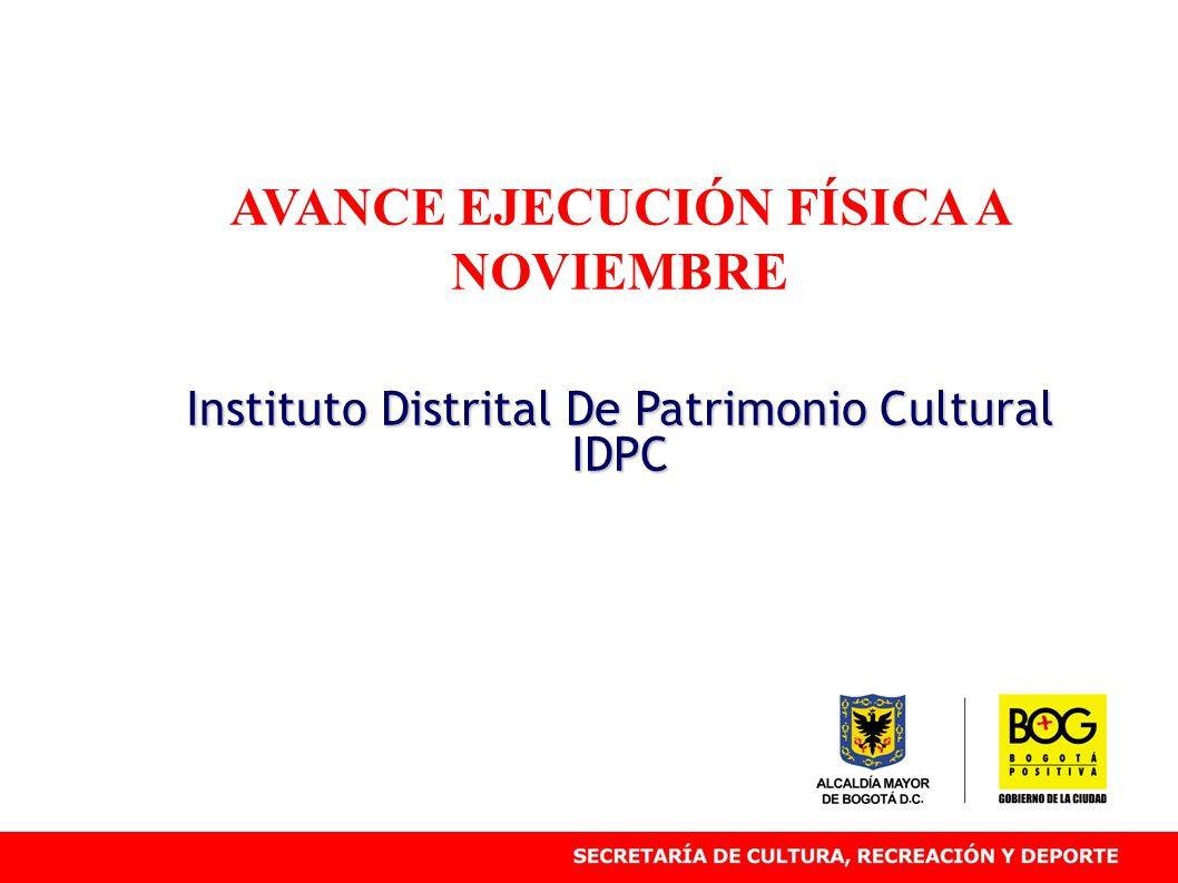 AVANCE EJECUCIÓN FÍSICA A NOVIEMBRE Instituto Distrital De Patrimonio Cultural IDPC