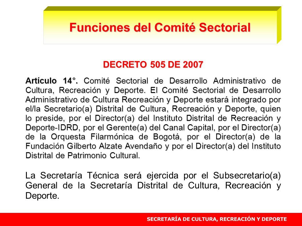 DECRETO 505 DE 2007 Artículo 14°. Comité Sectorial de Desarrollo Administrativo de Cultura, Recreación y Deporte. El Comité Sectorial de Desarrollo Ad