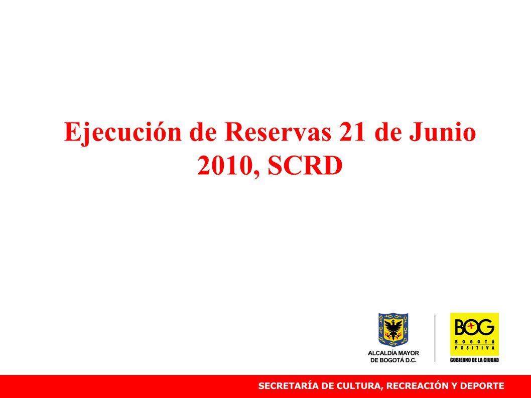 Ejecución de Reservas 21 de Junio 2010, SCRD