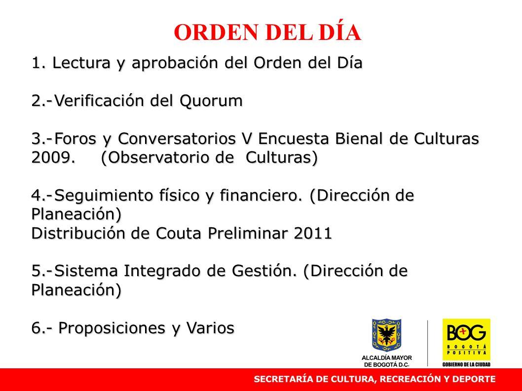 ORDEN DEL DÍA 1. Lectura y aprobación del Orden del Día 2.-Verificación del Quorum 3.-Foros y Conversatorios V Encuesta Bienal de Culturas 2009. (Obse