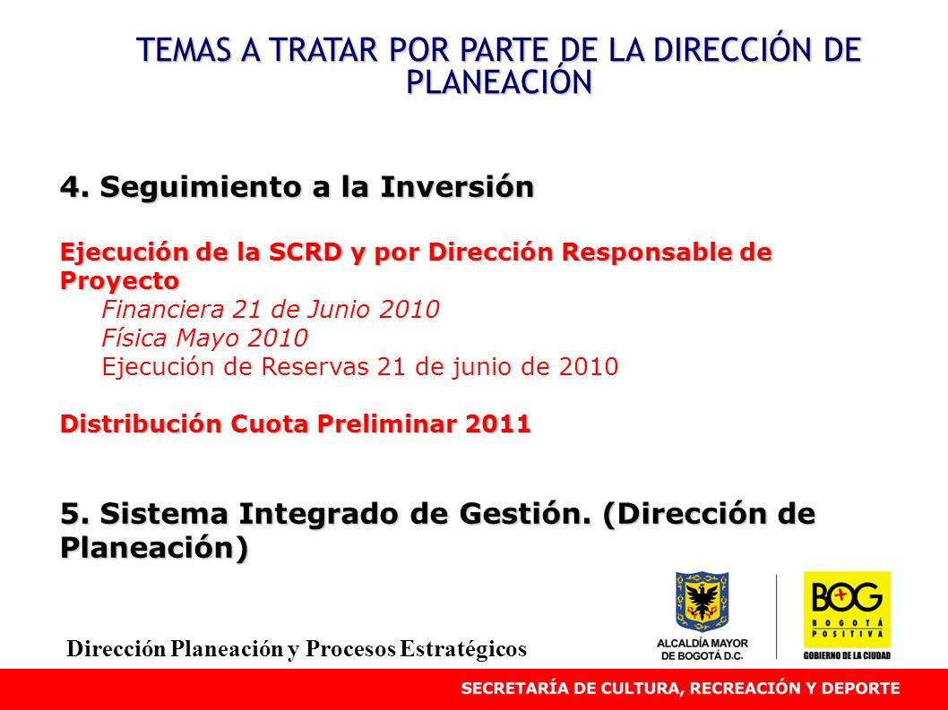 4. Seguimiento a la Inversión Ejecución de la SCRD y por Dirección Responsable de Proyecto Financiera 21 de Junio 2010 Física Mayo 2010 Ejecución de R