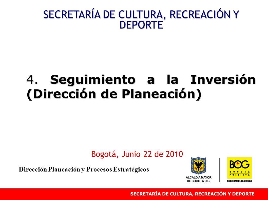 4. Seguimiento a la Inversión (Dirección de Planeación) SECRETARÍA DE CULTURA, RECREACIÓN Y DEPORTE Bogotá, Junio 22 de 2010 Dirección Planeación y Pr