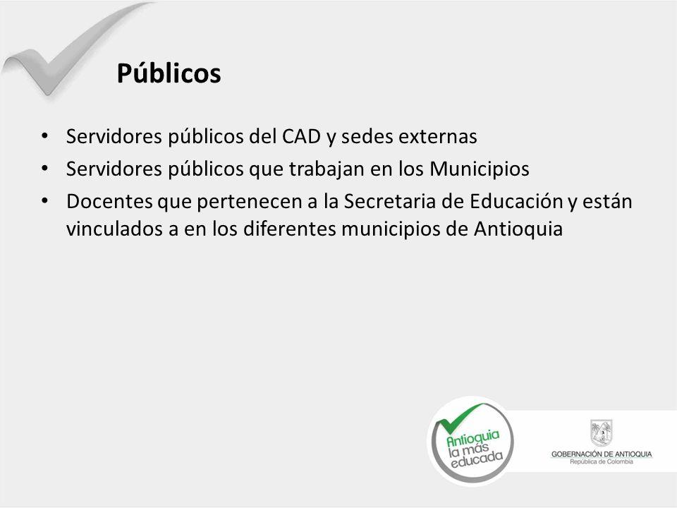 Públicos Servidores públicos del CAD y sedes externas Servidores públicos que trabajan en los Municipios Docentes que pertenecen a la Secretaria de Educación y están vinculados a en los diferentes municipios de Antioquia