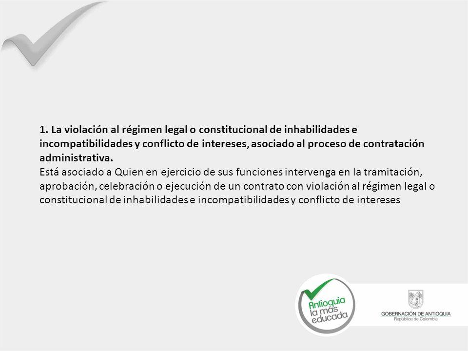 1. La violación al régimen legal o constitucional de inhabilidades e incompatibilidades y conflicto de intereses, asociado al proceso de contratación