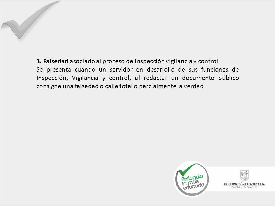 3. Falsedad asociado al proceso de inspección vigilancia y control Se presenta cuando un servidor en desarrollo de sus funciones de Inspección, Vigila