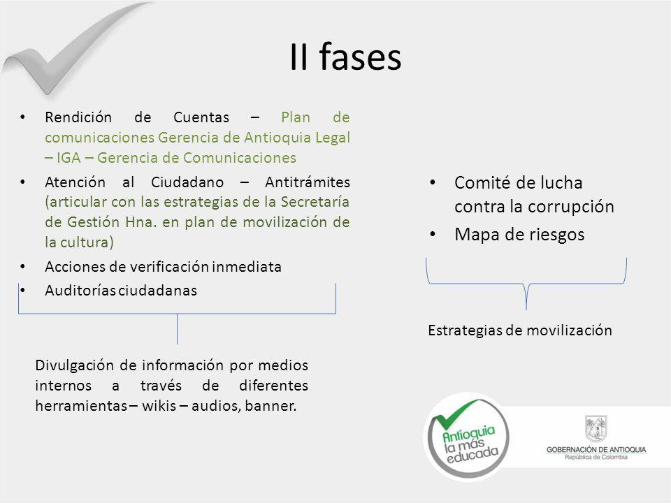 COMITÉ DE LUCHA CONTRA LA CORRUPCIÓN Composición: Control Interno, Antioquia legal, Gestión Humana, Secretaría General, Comunicaciones (invitado).