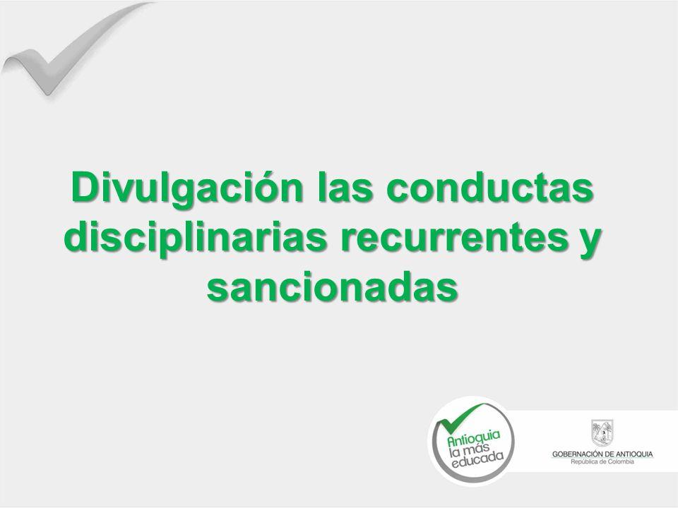 Divulgación las conductas disciplinarias recurrentes y sancionadas