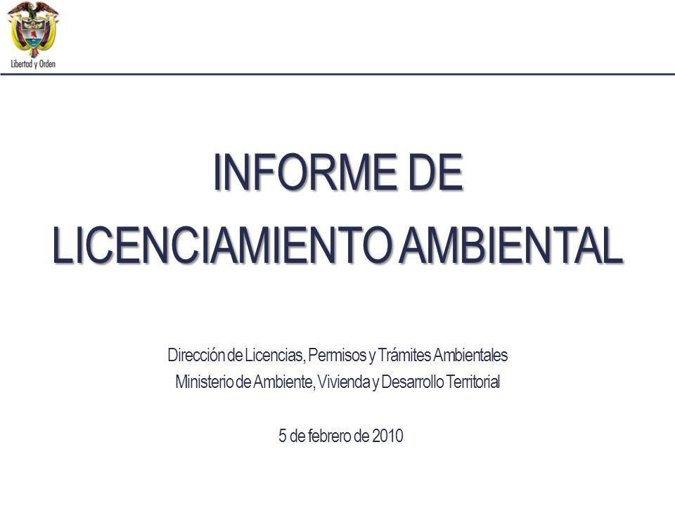 Dirección de Licencias, Permisos y Trámites Ambientales Ministerio de Ambiente, Vivienda y Desarrollo Territorial 5 de febrero de 2010 INFORME DE LICENCIAMIENTO AMBIENTAL