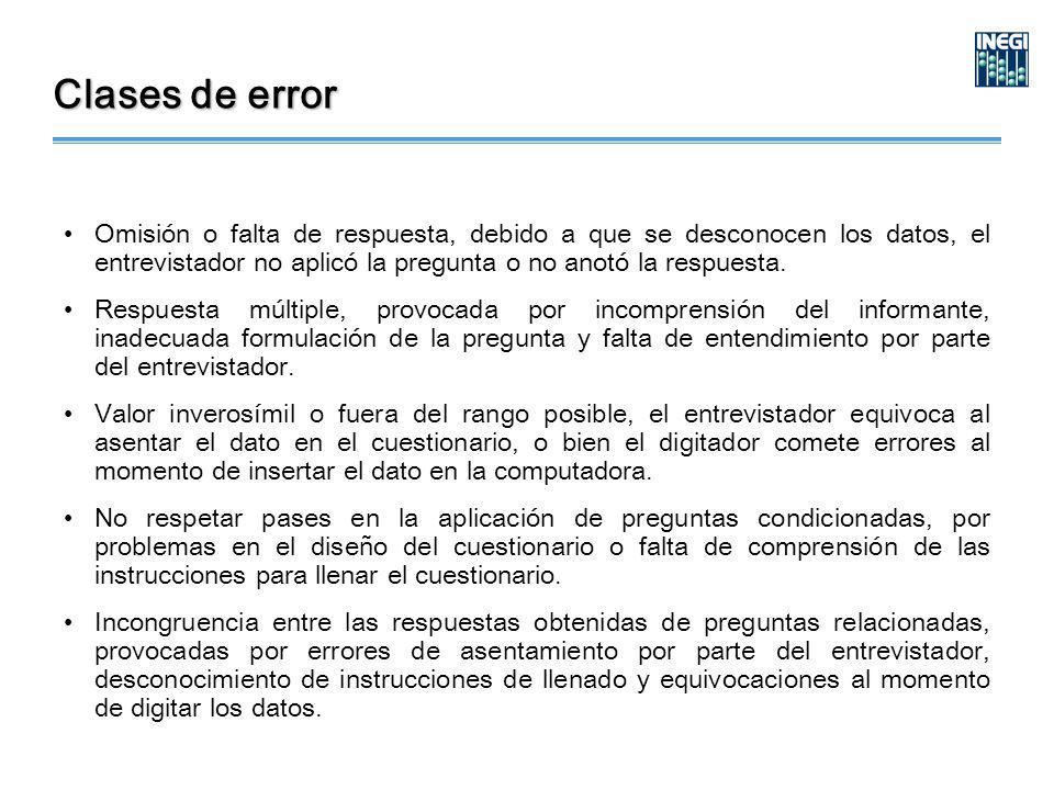 Clases de error Omisión o falta de respuesta, debido a que se desconocen los datos, el entrevistador no aplicó la pregunta o no anotó la respuesta.