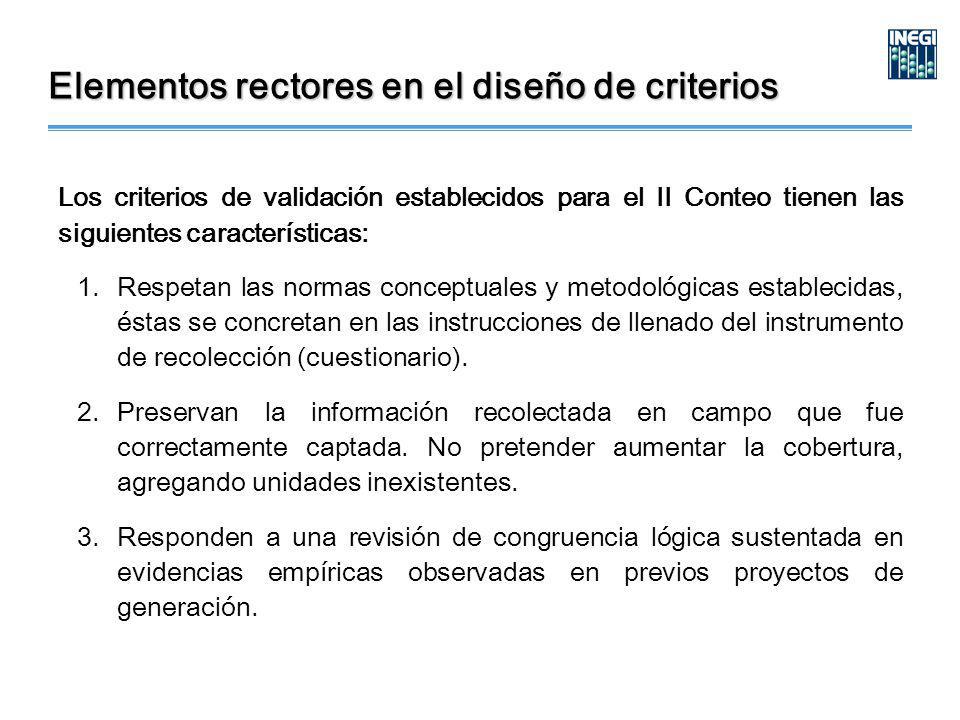 Elementos rectores en el diseño de criterios Los criterios de validación establecidos para el II Conteo tienen las siguientes características: 1.Respetan las normas conceptuales y metodológicas establecidas, éstas se concretan en las instrucciones de llenado del instrumento de recolección (cuestionario).